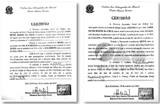 As certidões polêmicas sobre a situação de débito do advogado Leon Deniz com a OAB-MG