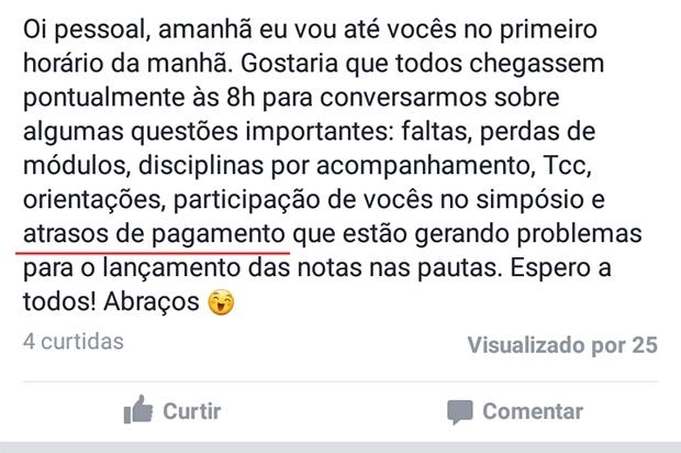 Alunos da PUC Goiás comentam cobrança em conversa por WhastApp | Reprodução