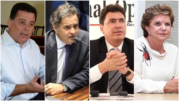 Marconi Perillo, Aécio Neves, Wilder Morais e Lúcia Vânia  Fotos: Wagnas Cabral/ George Gianni/ Fernando Leite/ Fernando Leite