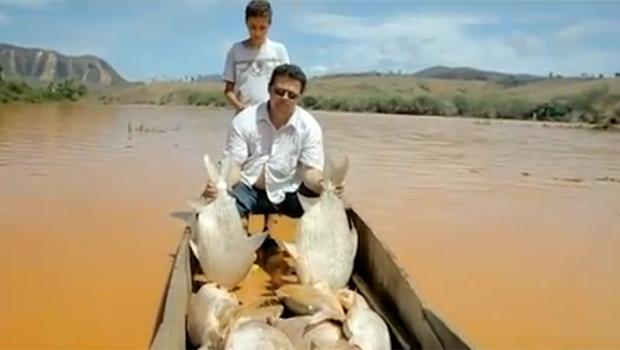 Pescador mostra quantidade de peixes mortos em barco | Reprodução