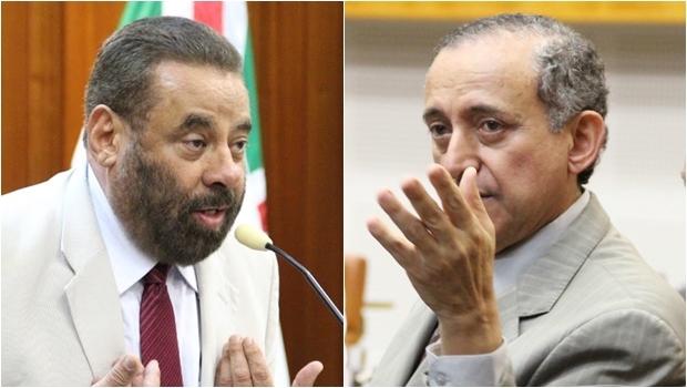 Paulo Magalhães (esq) e presidente da Casa, Anselmo Pereira, discutiram durante sessão |Fotos: Alberto Maia/Câmara de Goiânia