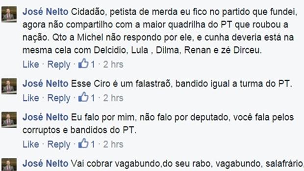 """Perfil oficial de deputado do PMDB xinga usuário de """"vagabundo e petista de merda"""""""