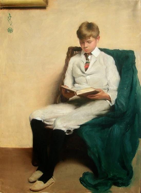 Leitura 6 reader Edmund C. Tarbell - American 1862–1938 - Portrait of a Boy Reading, 1913