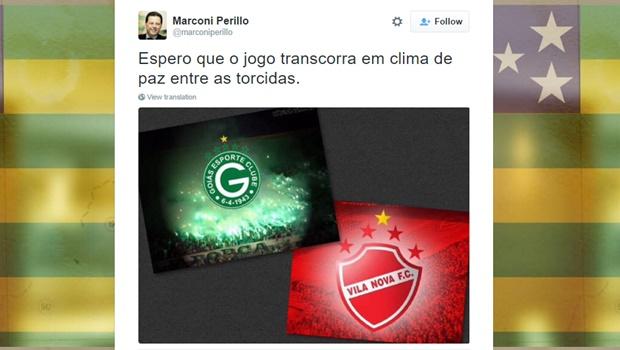 """""""Espero que o jogo transcorra em clima de paz entre as torcidas"""", diz Marconi sobre clássico entre Vila e Goiás"""