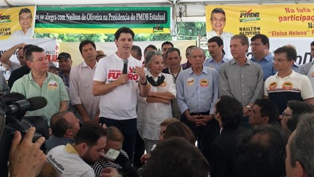 Deputado Daniel Vilela durante discurso na sede da legenda em Goiás   Foto Alexandre Parrode