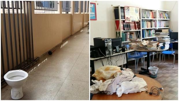 Fotos mostram sinais da passagem dos manifestantes no colégio histórico no centro da capital | Reprodução/Seduce