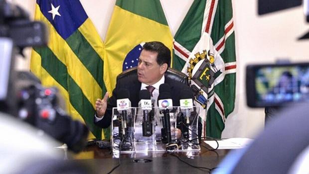 Marconi Perillo durante entrevista coletiva no Palácio Pedro Ludovico Teixeira | Foto: Divulgação