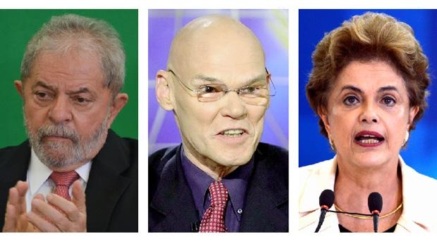 James Carville, omarqueteiro de Bill Clinton, entre o ex-presidente Lula e a presidente Dilma Rousseff: comprovando teoria sobre a prevalência da economia | Fotos: reprodução / José Cruz - Agência Brasil