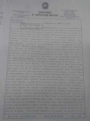 Registro em cartório da compra da Fazenda Estrela em 1982