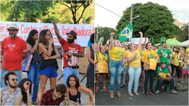 Manifestantes vão às ruas em Goiânia contra e a favor do impeachment