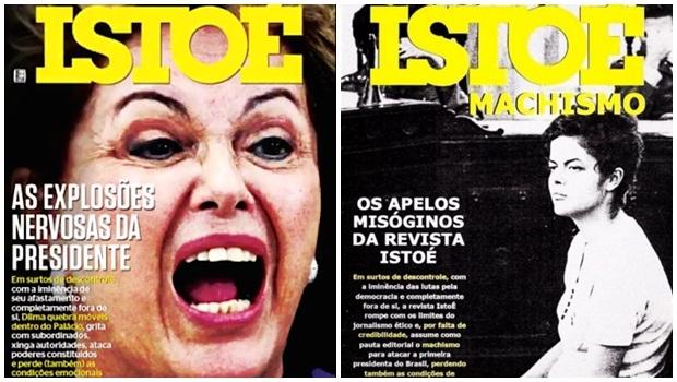 À direita, controversa capa da IstoÉ desta semana; à esquerda, montagem feita por internautas em resposta ao teor da matéria