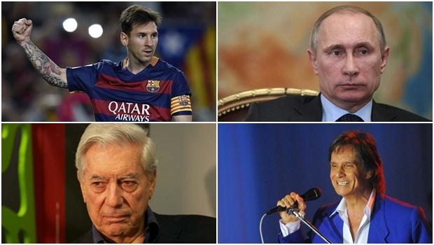 Vladimir Putin (político), Mario Vargas Llosa (escritor), Lionel Messi (jogador) e Roberto Carlos (cantor): offshores em paraísos fiscais