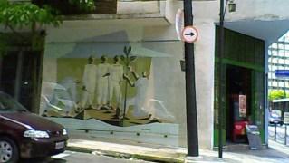 Na Rua João Lourenço, no bairro paulistano de Moema, painel restaurado de Clóvis Graciano
