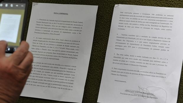 Nota a imprensa que fala sobre fala sobre a anulação da sessão de votação do impeachment da presidente Dilma Rousseff na Câmara dos Deputados | Foto: Foto: Alex Ferreira/ Câmara dos Deputados