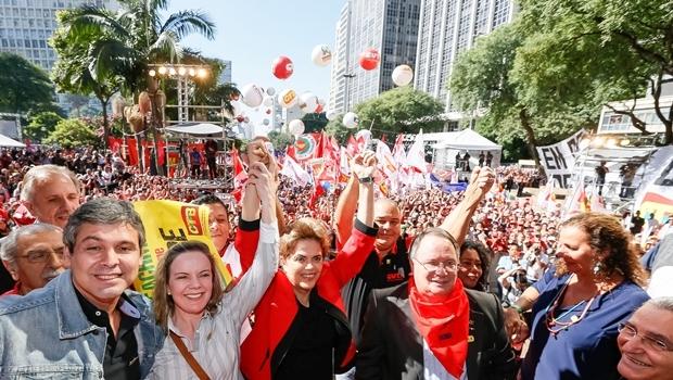 01/05/2016- São Paulo- SP, Brasil- A presidente Dilma Rousseff participa de evento do Dia do Trabalhador, no Vale do Anhangabaú. Foto: Roberto Parizotti/ CUT