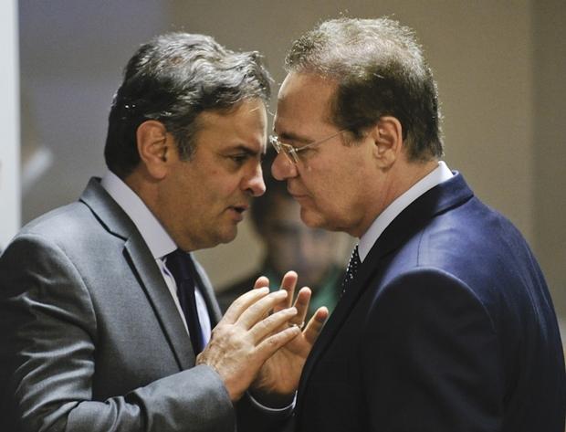 Aécio Neves e Renan Calheiros no Congresso | Foto: Marcos Oliveira/Agência Senado