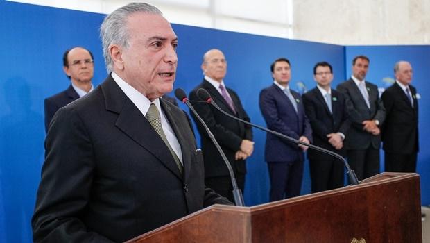 "O presidente interino Michel Temer (PMDB) disse que a ""agenda positiva"" ajudará economia a retomar seu rumo | Foto: Beto Barata/PR"