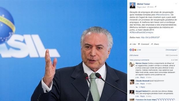 Página de Michel Temer começa a usar hashtag #ONovoBrasilJáComeçou