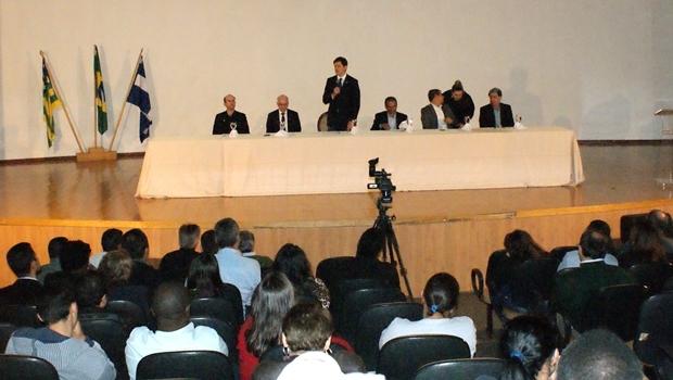 Manifestações durante o evento apoiaram a criação da instituição independente da estrutura da UFG   Foto: Assessoria de Imprensa