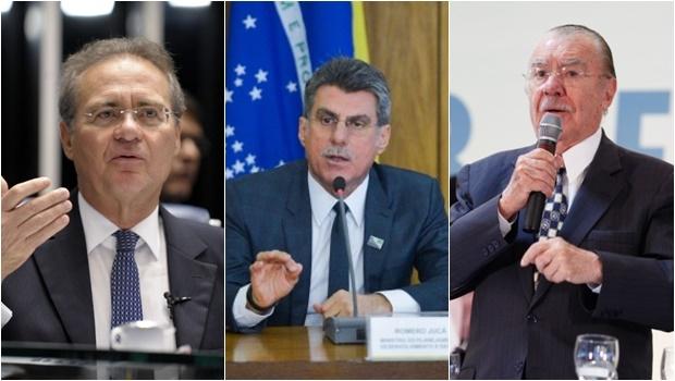 Os três também são acusados por Sergio Machado de receber R$ 70 milhões em propina   Fotos: Jefferson Rudy/Agência Senado (Renan), José Cruz/ Agência Brasil (Romero) e Wendel Lopes/ PMDB (Sarney)