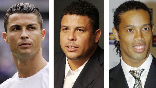 Cristiano, Fenômeno e Ronaldinho Gaúcho: o melhor Ronaldo entre os três é mesmo o do meio, o que a votação confirmou | Fotos: Denis Doyle/Getty | Divulgação