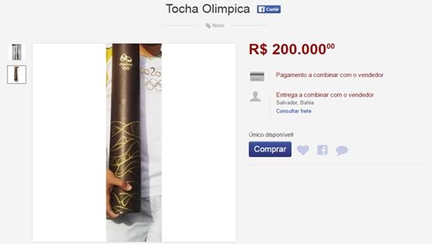 Condutores vendem tocha olímpica na internet. Preços chegam a R$ 200 mil