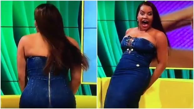 Vestido de participante de reality show rasga ao vivo em programa de TV