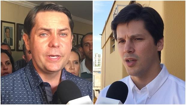 Presidentes Bruno Peixoto e Daniel Vilela durante entrevista nesta segunda | Fotos: Alexandre Parrode