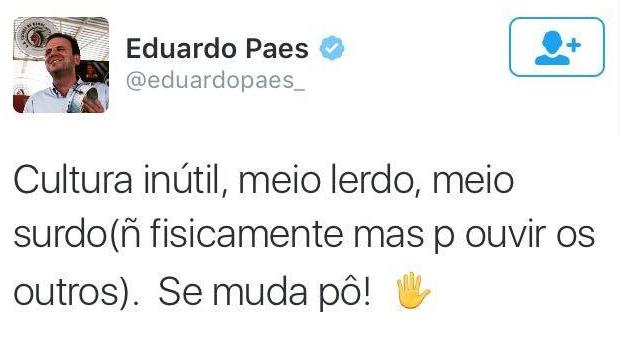 Pelo Twitter, Prefeito do Rio de Janeiro sugere que cidadão insatisfeito mude de cidade