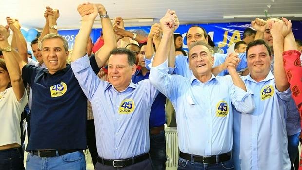 Governador e vice-governador participaram de convenção que oficializou candidatura de Jardel Sebba e Gustavo Tampa