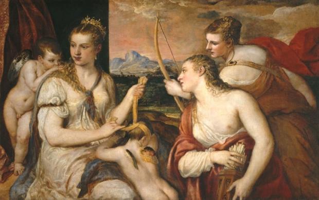 Vênus vendando o amor | Tiziano (Ticiano) Vacellio