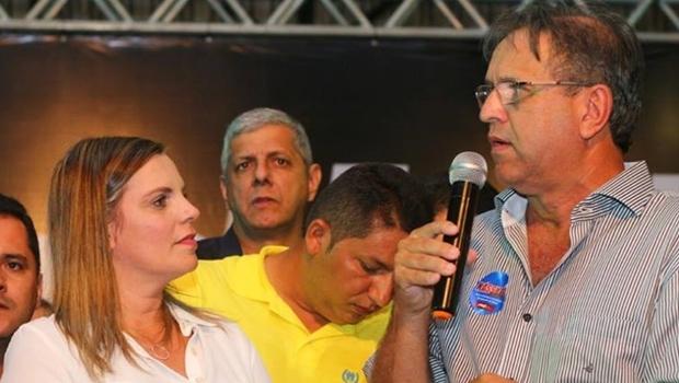 Cláudia Lelis e Marcelo Miranda durante lançamento da candidatura | Foto: reprodução