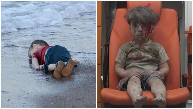 Omran Daqneesh, de 5 anos, em estado de choque: imagem de desespero  Corpo do pequeno Allan Curdi: imagem que chocou o mundo no ano passado