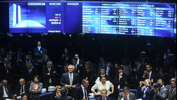 Plenário do Senado Federal aprova parecer e Dilma vai a julgamento por crime de responsabilidade | Foto: Marcos Oliveira/Agência Senado