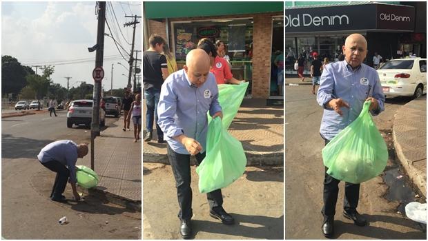 Candidato da Rede Sustentabilidade, Djalma Araújo começou campanha coletando lixo | Foto: Reprodução