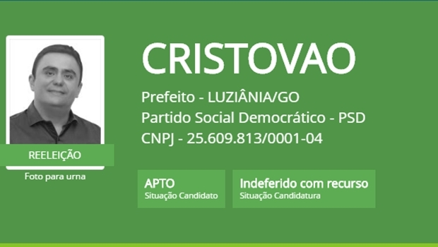 "No site do TSE, Cristóvão Tormin segue com a candidatura ""indeferida com recurso"""