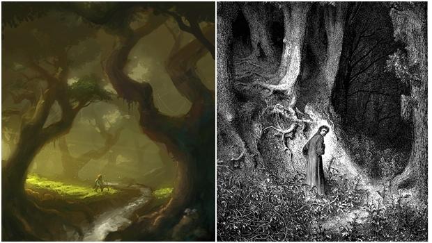 Do lado esquerdo, a Floresta das Trevas de Tolkien; do direito, a floresta escura de Dante: há semelhanças entre as funções das duas florestas nas obras dos autores | Fotos: Ilustração de Ven Locklear (esq.) e Ilustração de Gustave Doré (dir.)