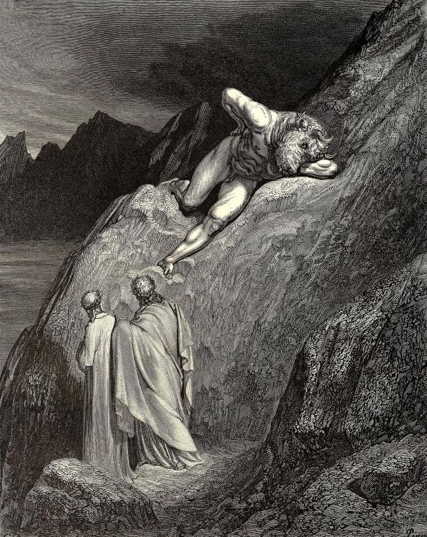 Ilustração mostra cena do Canto XII, quando Virgílio livra Dante das garras do Minotauro, que enfurecido morde a própria mão | Foto: Ilustração de Gustave Doré