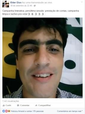 Uma das 15 transmissões ao vivo feitas via Facebook durante a campanha: busca de interação em tempo real com os eleitores   Foto: Reprodução / Facebook