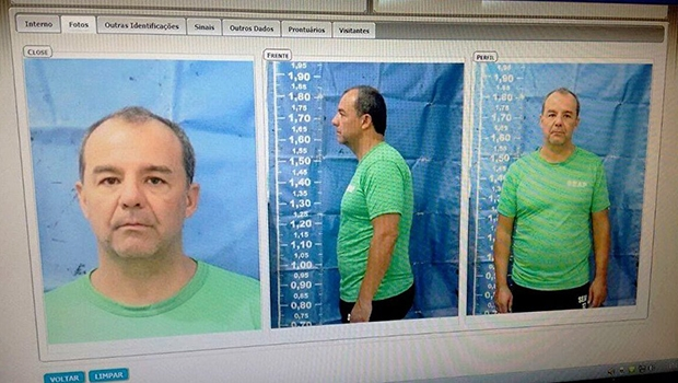 Sergio Cabral teve a cabeça raspada após chegar ao complexo penitenciário de Gericinó, em Bangu /\ Foto: Reprodução