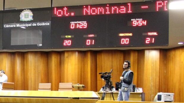 Agressão foi transmitida ao vivo pela TV Câmara, mas órgão alega que perdeu os arquivos da gravação | Foto: Reprodução Marcelo Vale / Câmara Municipal de Goiânia