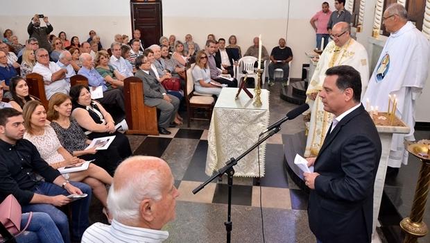 Marconi durante a missa de Luiz Rassi |  Foto: Eduardo Ferreira