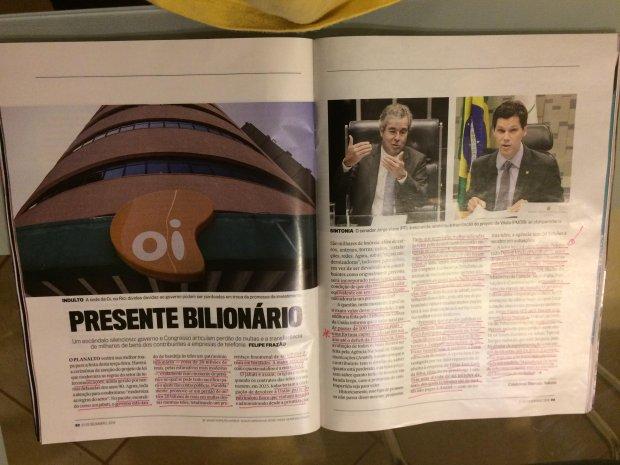 Reportagem da revista Veja que conta trama para beneficiar empresas de telecomunicações, principalmente a OI