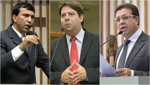 Wagner Siqueira (PMDB), Karlos Cabral (PDT) e Daniel Messac (PSDB) assumem vagas no legislativo goiano | Fotos: Alego