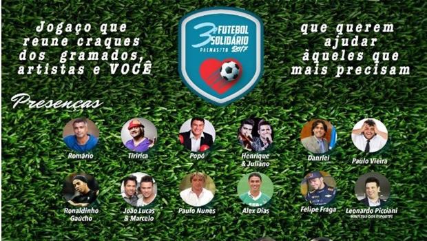 Futebol Solidário em Palmas reúne craques e artistas em campo