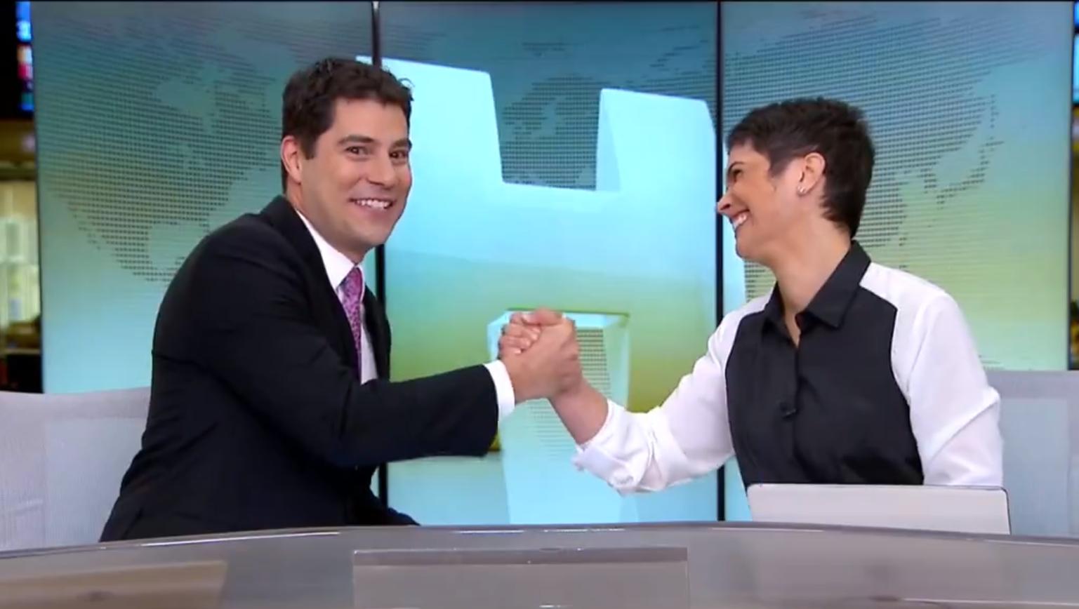 Evaristo Costa se despede de Jornal Hoje e emociona Sandra Annenberg