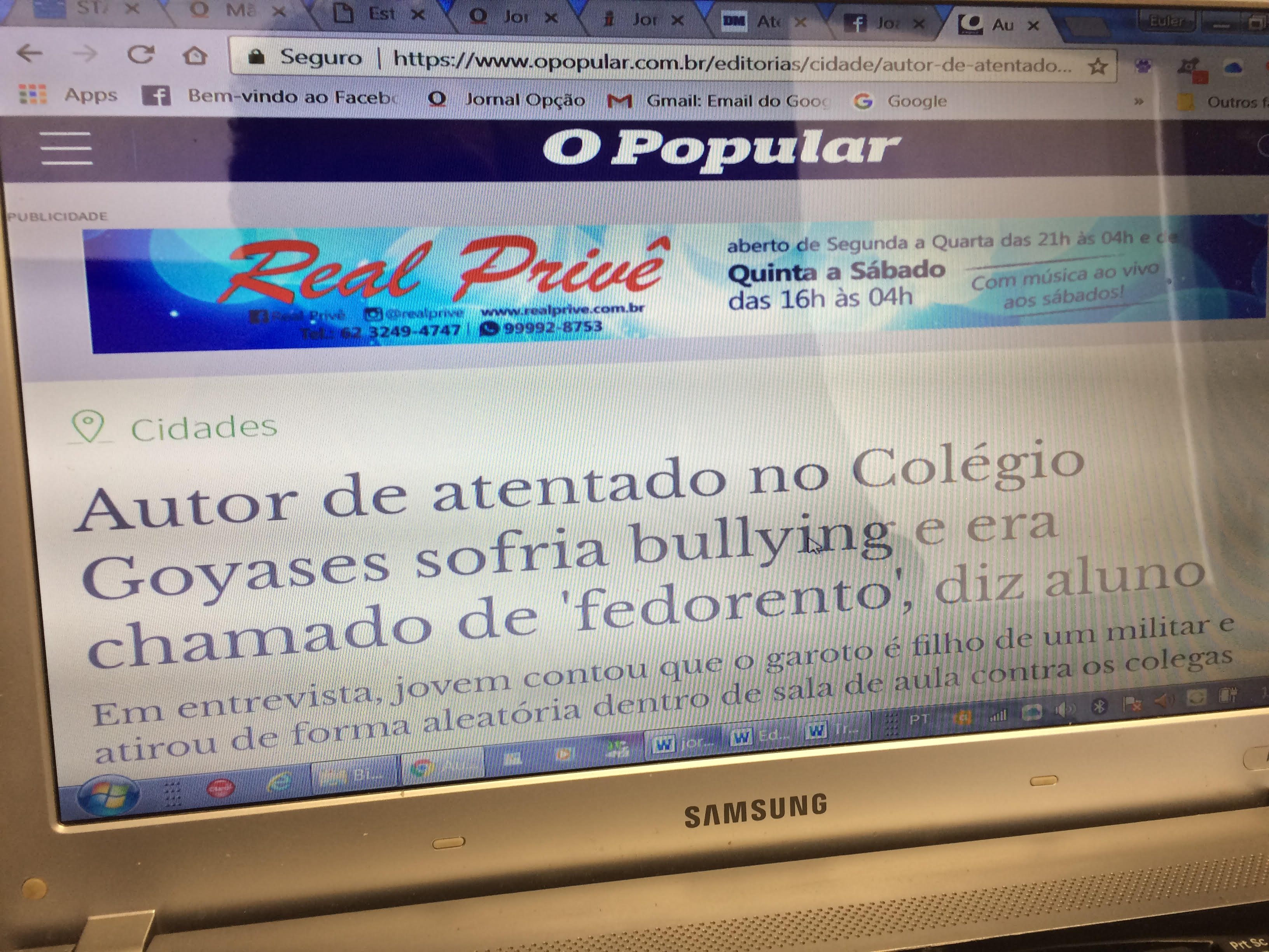 O Popular publica tragédia de estudantes assassinados e destaca anúncio do Real Privê