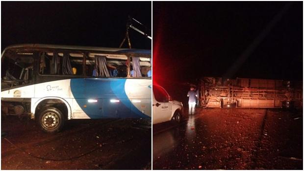 Ônibus tomba na BR-354 e deixa 16 pessoas feridas no interior de Goiás