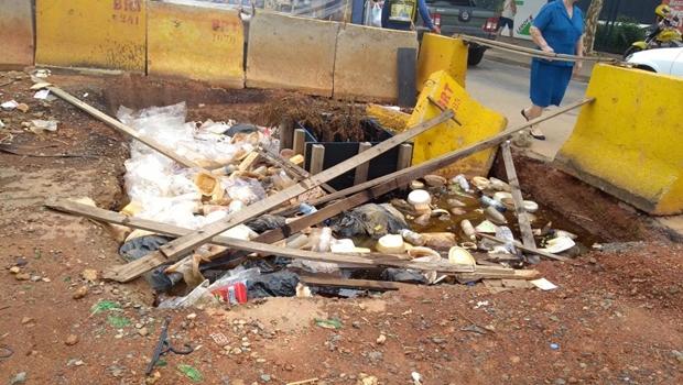 Obras paradas do BRT acumulam lixo e viram criadouros do mosquito da dengue