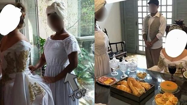 """Em festa temática de 15 anos, garota é servida por """"escravos"""" e gera revolta"""